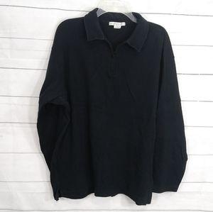 Geoffrey Beene zip up black sweater 100% cotton L